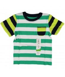 Jumping Beans Green/White Stripped Tee Wt Lemon/Navy Pocket