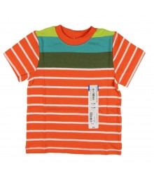 Okie Dokie Orange Stripped Wt Orange  N Lemon/Teal Boys Tees