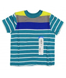 Okie Dokie Teal Stripped Wt Blue N Grey Boys Tees