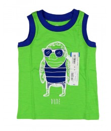 Okie Dokie  Green/Blue Neck Sleeveless Tee