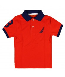 Nautica Red Polo Tee with Navy Under Collar Little Boy