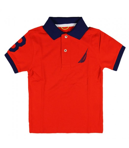 Nautica Red Polo Tee with Navy Under Collar