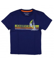 Nautica Admiral Blue Sailboat Printed Boys Tee