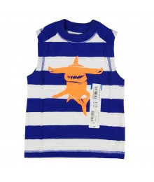 Okie Dokie Blue Stripe Wt Orange Graphic Sleevless Tee Baby Boy