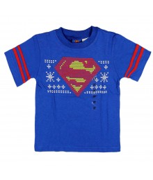 Superman  Blue Emblem  with Double Red Stripe On Sleeve Tee