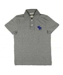 Abercrombie & Fitch Grey Wt Blue Abercrombie Crest Polo