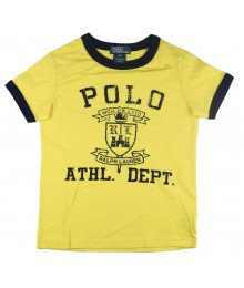 Polo Yellow Boys Ringer Tees Wt Crest Print Little Boy