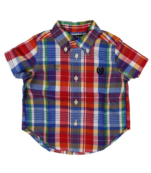 Chaps Red/Blue Multi Checkered S/Sleeve Shirt