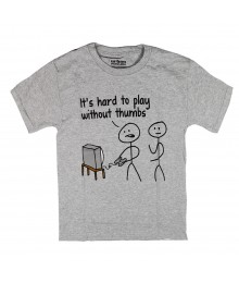 Urban Pipeline Grey Boys Tee - Its Hard To Play Wtout Thumbs