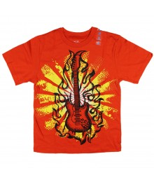 Childrens Place Orange Boys Tees- Guitar Print Little Boy