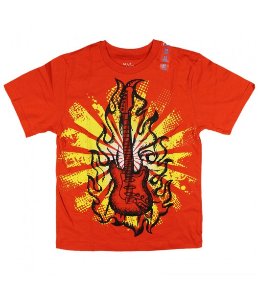 Childrens Place Orange Boys Tees- Guitar Print