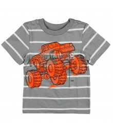 Circo Grey Stripped Boys Tee Wt Neon Forerunner Print