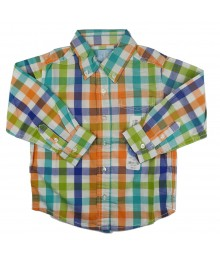 J Khaki Lemon/Turq/Orange Checkered L/Sleeve Shirt Little Boy
