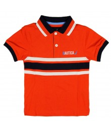Nautica Orange Polo with Badge at back Little Boy