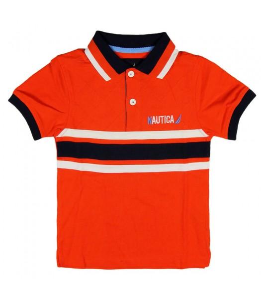 Nautica Orange Polo with Badge at back Little Boy