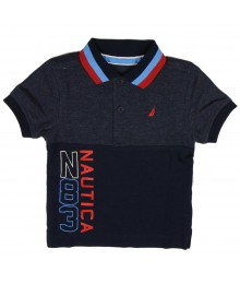 Nautica Navy/Grey Pique Polo Wt Red/Blue Stripped Collar Little Boy