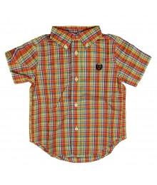 Chaps Orange/Green Multi Plaid S/Sleeve Shirt