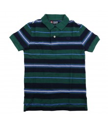 Chaps Green/Navy Stripped Polo Pique