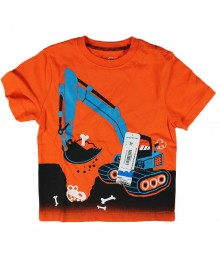 Jumping Beans Orange Boys Tee Wt Tractor Print