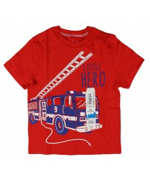 "Jumping Beans Red Tee With ""Little Hero"" Print"
