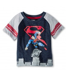 Superman Navy/Grey Wt Red Emblem N Double Red Stripe On Sleeve Tee