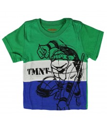 Teenage Mutant Ninja Turtles Green/White/Blue Stripped Boys Tee With Black Turtle Print