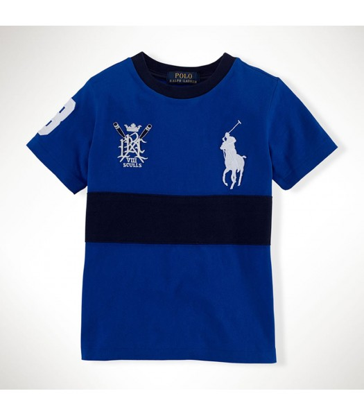 Polo Blue/Black Crest N Big Pony Boys Tee