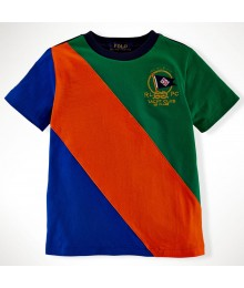 Polo Green/Blue/Orange Color Block Boys Tee Wt Crest Little Boy