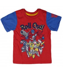 "Tranformers Red/Bule Boys Tee Wt ""Roll Out""/Red N Yellow Transformer Print"