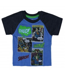 Superman Blue Boys Tee Wt Comic Emblem Print