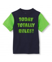 Childrens Place Navy Boys Tee/Totally Rules Print
