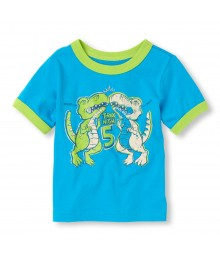 Childrens Place Blue Boys Tee/Dino High Five Print Little Boy