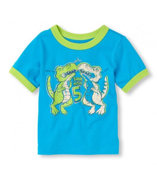 Childrens Place Blue Boys Tee/Dino High Five Print