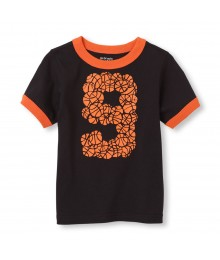 Childrens Place Black Boys Tee/Basketbal 9 Print Little Boy