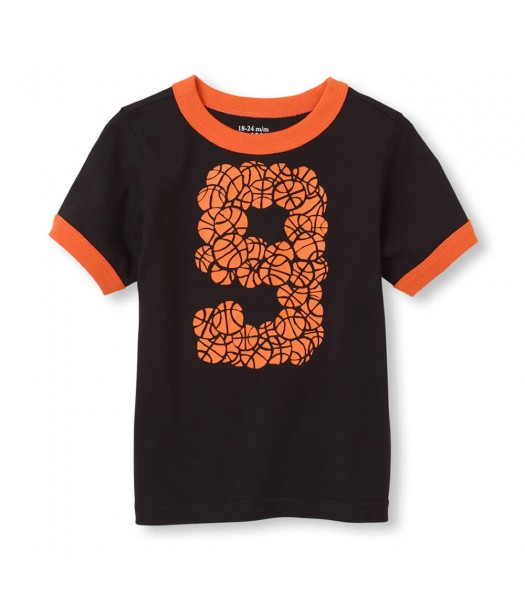 Childrens Place Black Boys Tee/Basketbal 9 Print