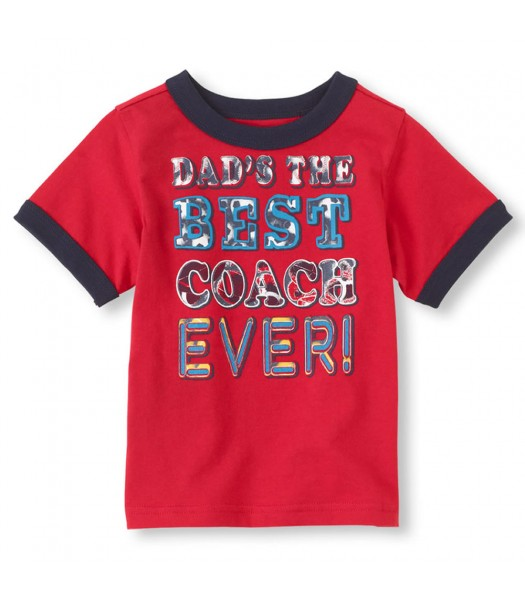 Childrens Place Red Boys Tee/Best Coach Print