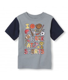 Childrens Place Grey Boys Tee/I Rock At Sport Print