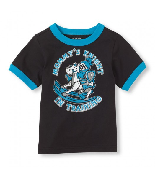Childrens Place Black Boys Tee/Mommys Knight Print