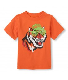 Childrens Place Orange Boys Tee/Cool Tiger Print Little Boy