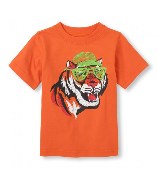Childrens Place Orange Boys Tee/Cool Tiger Print