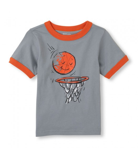 Childrens Place Grey Boys Tee/Basketball N Hoop Print