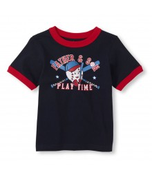 Childrens Place Navy Boys Tee/Father N Son Basetball Print Little Boy
