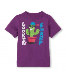 Childrens Place Purple Boys Tee/Lookin Sharp Print