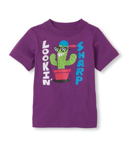 Childrens Place Purple Boys Tee/Lookin Sharp Print