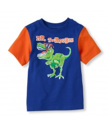 Childrens place blue boys tee/mr. T-rouble print
