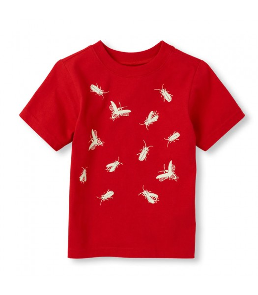 Childrens Place Red Boys Tee/Glow-In-The-Dark Print