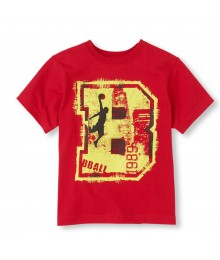 "Childrens Place Red Boys Tee/Big Yellow ""B"" Print"