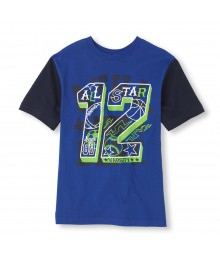 Childrens Place Blue Boys Tee/All Star 12 Print