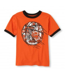 Childrens Place Orange Boys Tee/Slam Dunk Basketball Print Little Boy