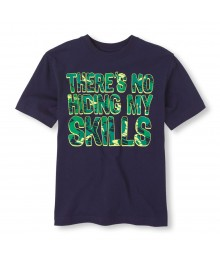 Childrens Place Navy Boys Tee/Skills Camo Print